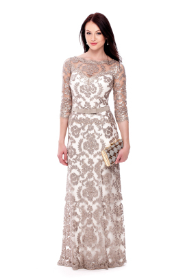 Long Sand Embroidered Dress -0