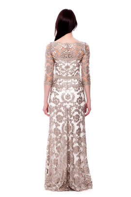 Long Sand Embroidered Dress-3