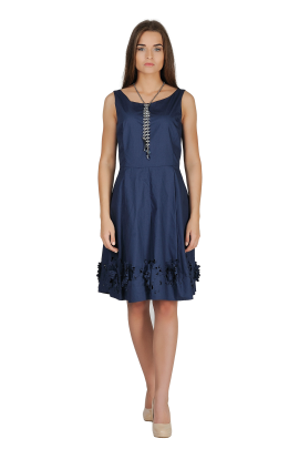 Navy Dress With cuted Flowers-0