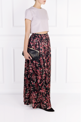 Black Poppies Maxi Skirt-2
