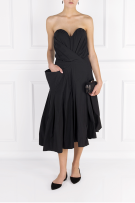 Strapless Poplin Midi Dress-1