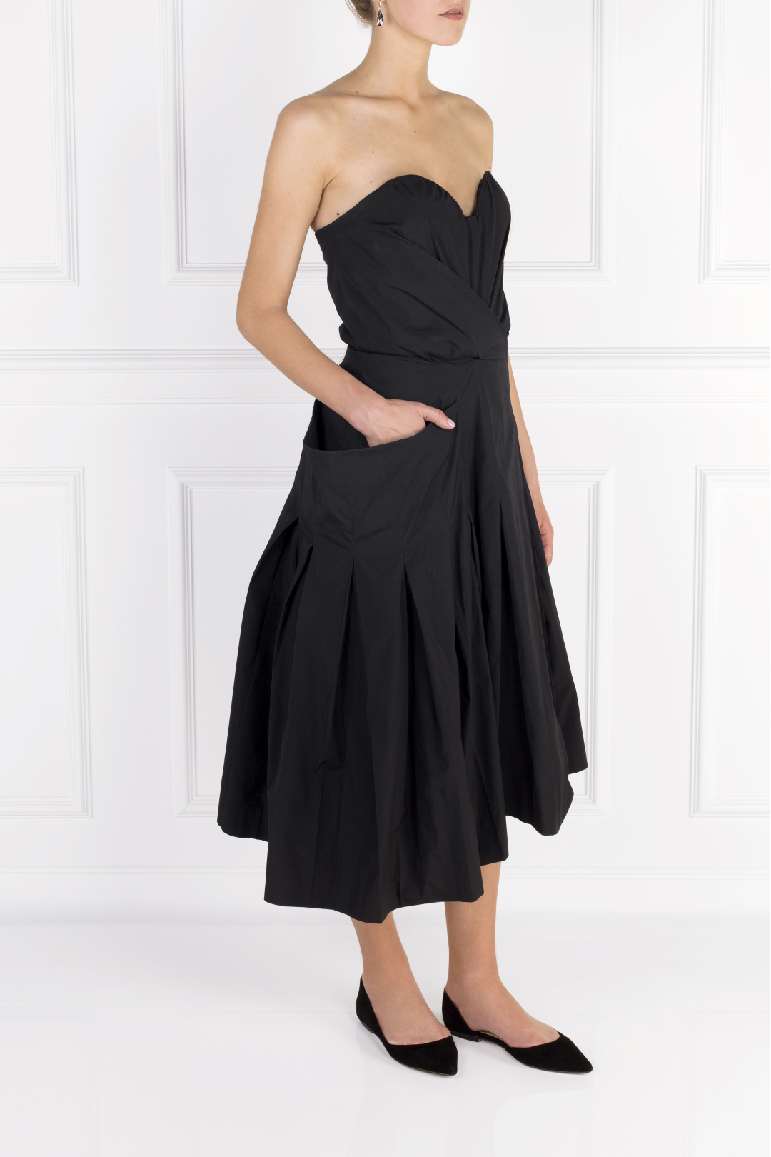 Strapless Poplin Midi Dress
