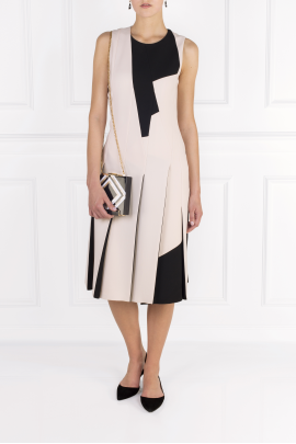 Two-tone Wool-crepe Dress / VILNIUS-1