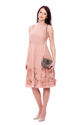 Flower Cutting Midi Dress-3