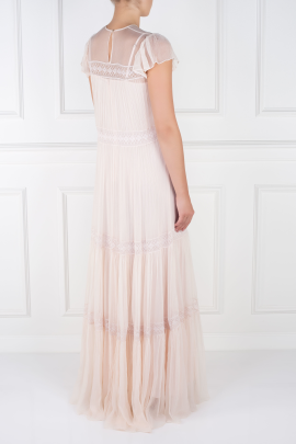 Cream Crinkled-chiffon Gown-3
