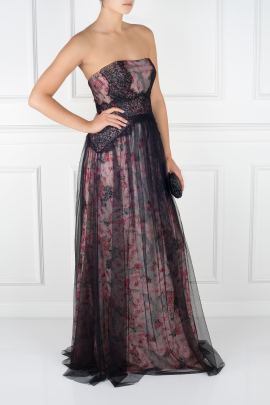 Floral-print Tulle Gown -2