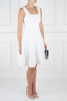 White Striped Mesh Dress-2